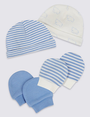 8eb086f96 Easy Dressing 4 Piece Pure Cotton Premature Hat & Mittens Set