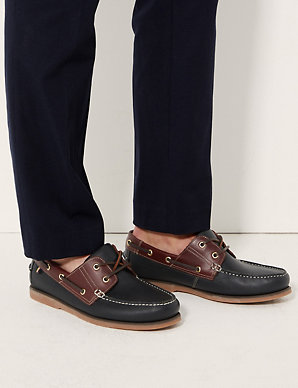 prevalent rock-bottom price temperament shoes Extra Wide Fit Leather Lace-up Boat Shoes