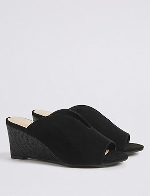 96aac956c0f5b Extra Wide Fit Wedge Heel Mule Sandals | M&S Collection | M&S