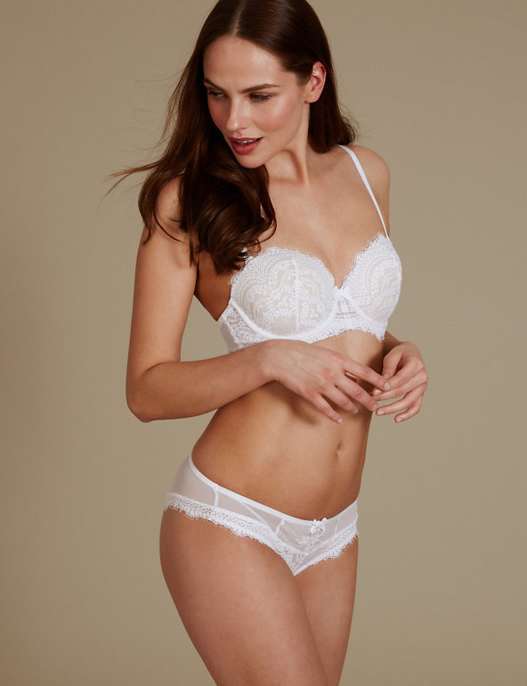 Ladies Underwear Size18 M/&S Rustic Eyelash Lace Collection Brazilian Knicker new