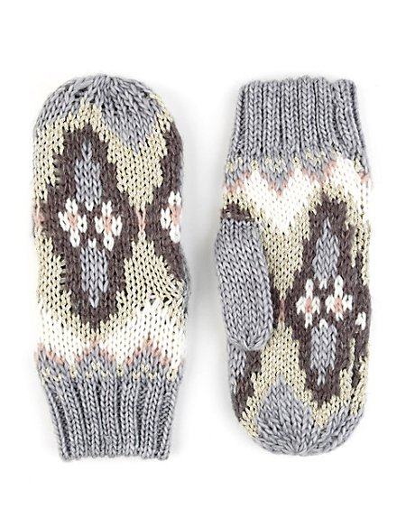 Fair Isle Mittens with Wool