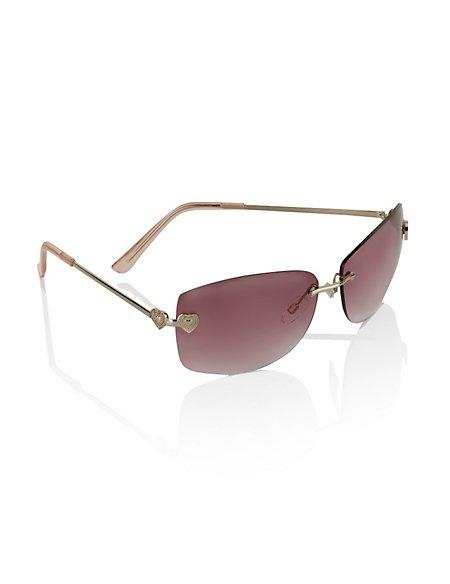 Heart Rimless Tinted Sunglasses