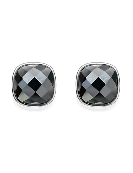 Sterling Silver Hematite Stud Earrings M S Collection M S