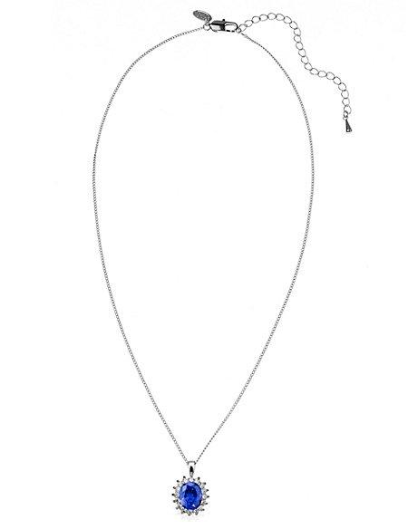 Platinum Plated Diamanté Pendant Chain Necklace