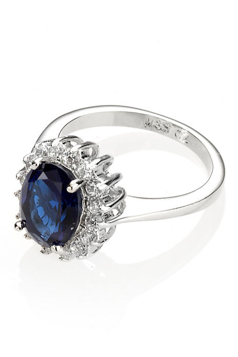 Platinum Plated Diamanté Regal Ring