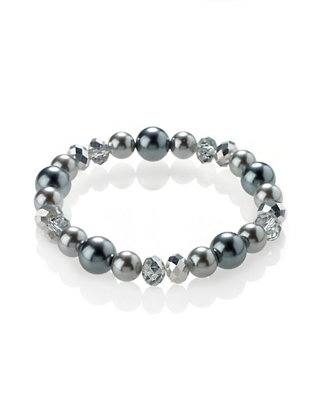 Pearl Effect Sparkle Bead Stretch Bracelet
