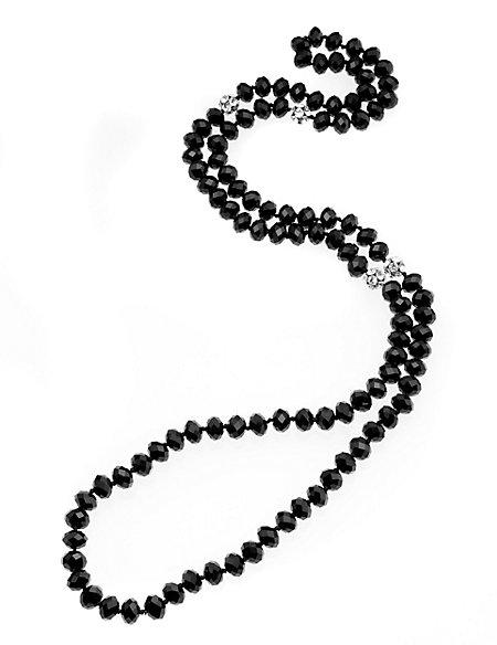 Sparkle Glass Bead & Diamanté Long Necklace