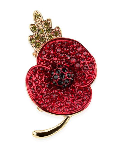 Small Pave Diamanté Poppy Brooch