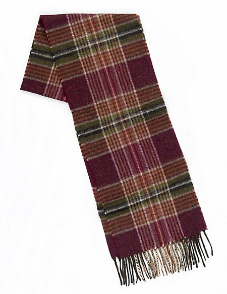 Pure Lambswool Mulberry Over Checked Scarf