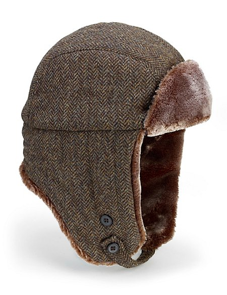 35dd0fe7937 Product images. Skip Carousel. Pure Wool Faux Fur Herringbone Trapper Hat