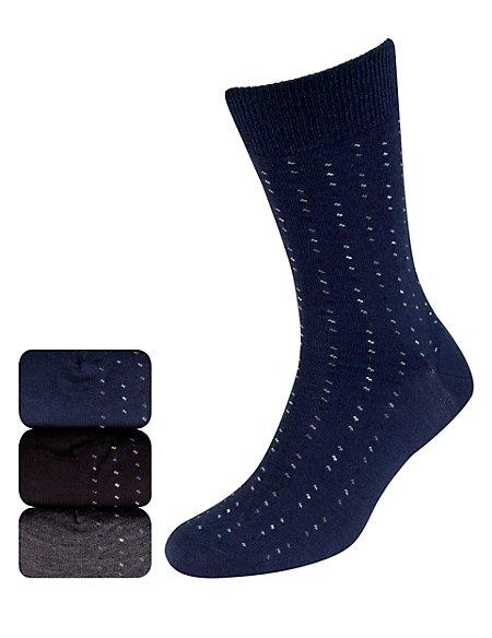 3 Pairs of Merino Wool Blend Dash Print Socks