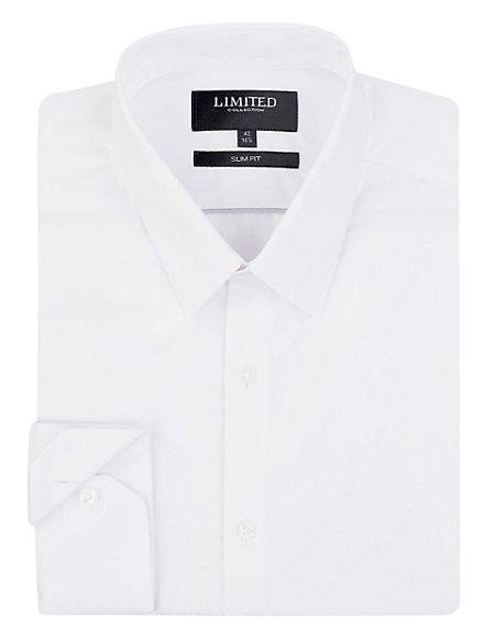 2in Shorter Slim Fit Plain Poplin Shirt