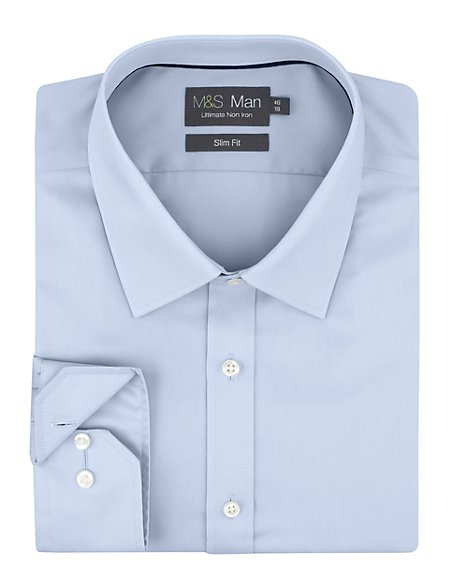 2in Longer Performance Pure Cotton Non-Iron Slim Fit Twill Shirt