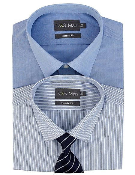 2 Pack 2in Longer Easy Care Assorted Shirts with Tie