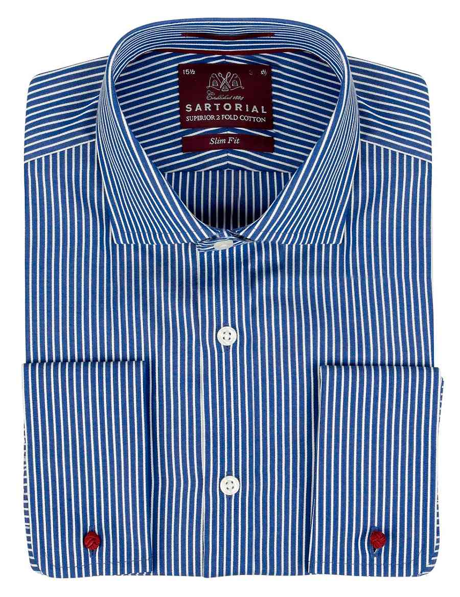 Luxury Sartorial Pure Cotton Slim Fit Striped Shirt Ms
