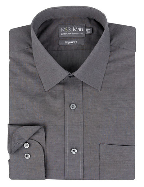 Cotton Rich Easy to Iron Textured Shirt