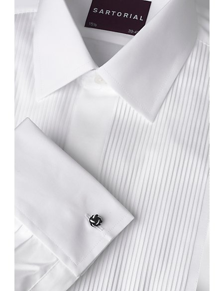 2in Longer Pure Cotton Ribbed Dress Shirt