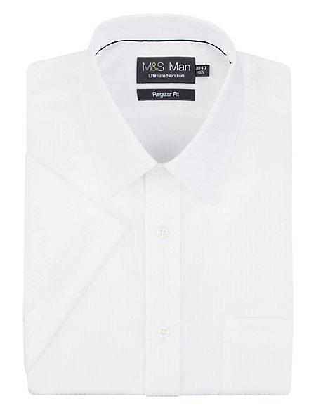 Ultimate Non-Iron Pure Cotton Short Sleeve Fine Striped Shirt