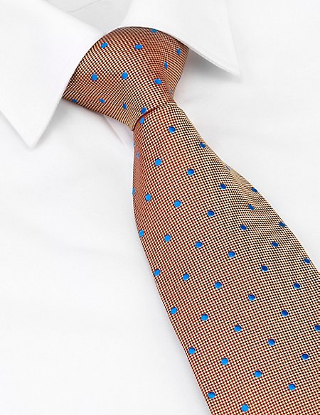 Savile Row Inspired Made In England Pure Silk Contrast Spotted Embroidered Tie