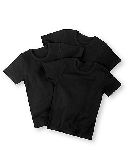 3 Pack Pure Cotton Crew Neck Vests (Older Boys)
