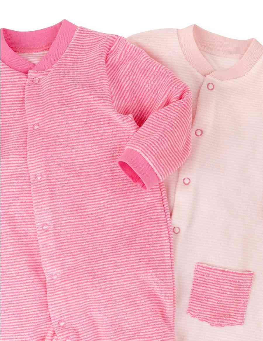 2 Pack Cotton Rich Striped Towelling Sleepsuits Ms Legging Baby 0 6 12 Bulan Celana Panjangbayi