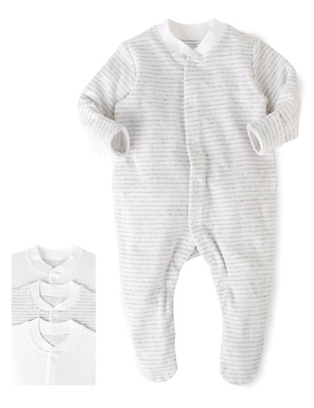 3 Pack Cotton Rich Towelling Sleepsuits