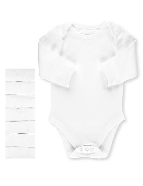 7 Pack Pure Cotton Long Sleeve Bodysuits