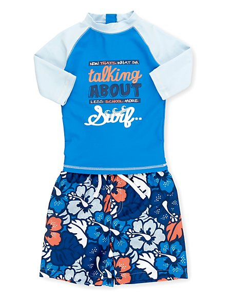 Safe in the Sun Rash Vest & Shorts Swimsuit (1-7 Years)