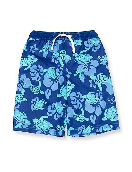 Contrast Drawstring Turtle Print Swim Shorts (1-7 Years)