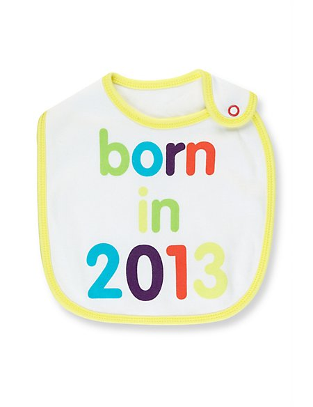 Pure Cotton Born in 2013 Bib