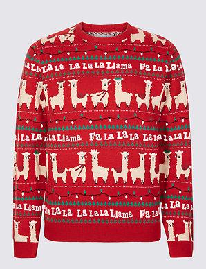 85566058d42e Falala Llama Christmas Jumper | M&S Collection | M&S