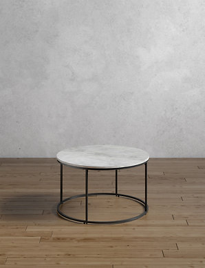 White Marble Coffee Table.Farley Marble Round Coffee Table