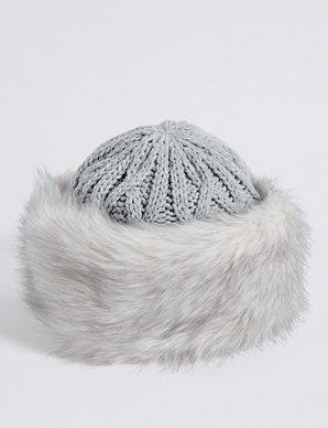 074957662c3e Faux Fur Cable Knit Winter Hat   M&S Collection   M&S