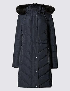 5db80afa6f Faux Fur Chevron Quilt Coat | Classic | M&S