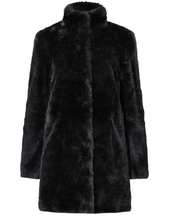 Black Mink Signature KneeLength Faux Fur Coat