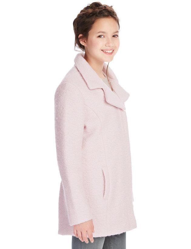 Kids Dream Ivory Size 6 Fleece Faux Fur Collar Cuff Girls Coat