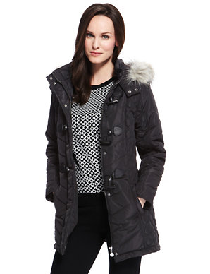 Faux Fur Hooded Quilted Duffle Coat With Stormwear