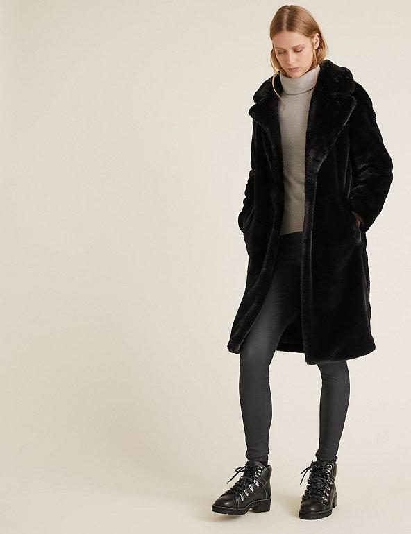 Faux Fur Longline Coat M S Collection, Large Size Faux Fur Coats