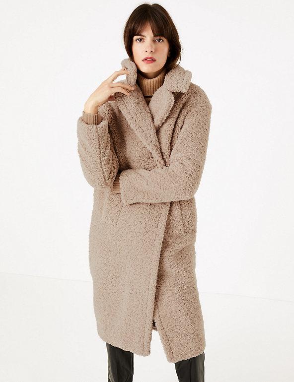 Faux fur teddy coat Dark beige Kids