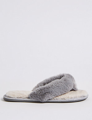 63205f765bb Faux Fur Toe Thong Mule Slippers