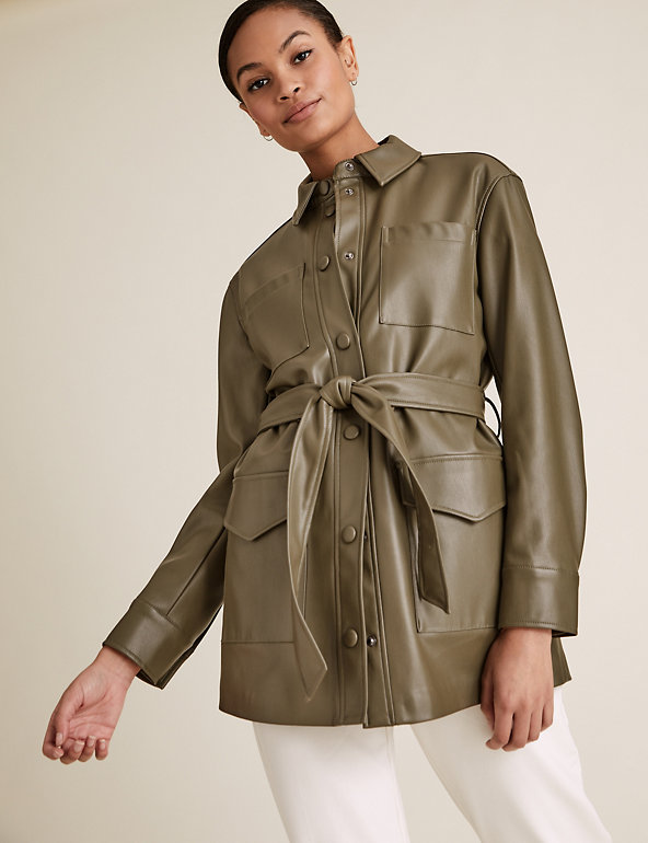 Faux Leather Belted Jacket M S, Womens Faux Leather Trench Coat Uk