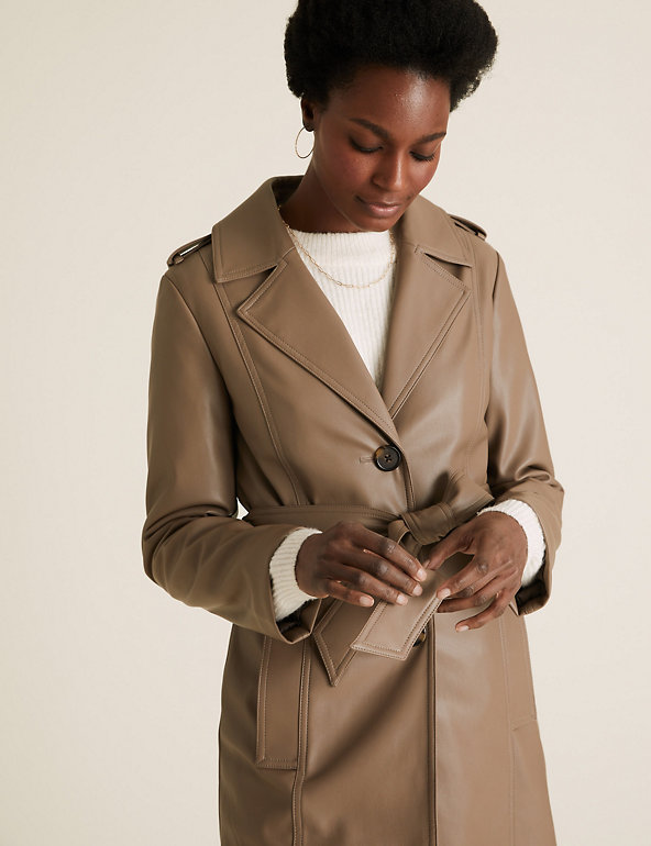Faux Leather Belted Trench Coat M S, Womens Faux Leather Trench Coat Uk