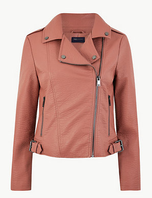 3a16b57bcfc Faux Leather Biker Jacket   M&S Collection   M&S