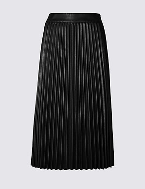4ee7ca0b03 Faux Leather Pleated Midi Skirt | M&S Collection | M&S