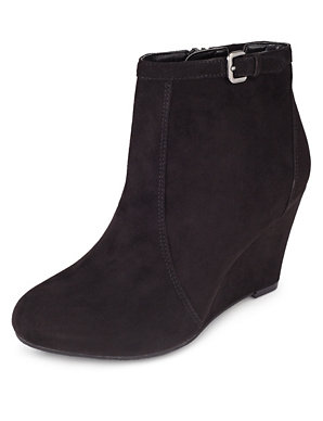 ceddef869340 Faux Suede Wide Fit Wedge Ankle Boots with Insolia®