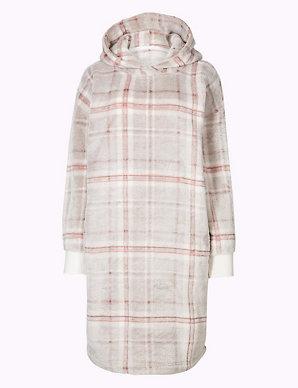 d10fa18640a9 Fleece Checked Hooded Lounge Dress