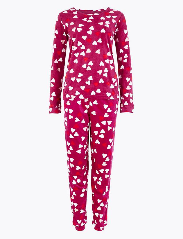Fleece Heart Print Pyjama Set