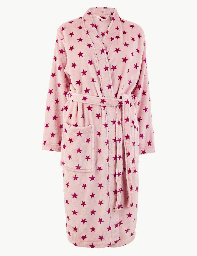 Fleece Star Print Dressing Gown