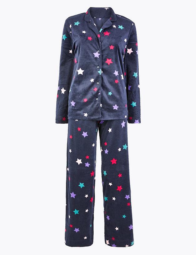 Fleece Star Print Pyjama Set