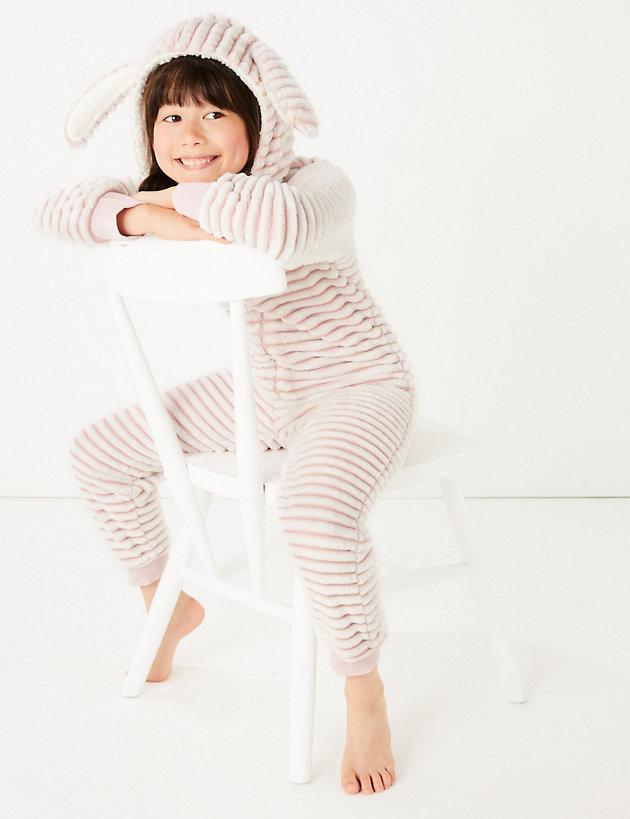 Fleece Striped Bunny Onesie (1-16 Years)